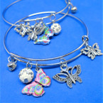 Butterfly  Theme Silver Wire Charm Bracelets .54 each