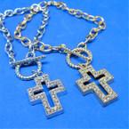 Gold & Silver Link Bracelet w/ Crystal Stone Cross Charm     .54 ea