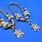 Gold & Silver Pandora Look Charm Bracelet w/ Cry. Stone Turtle .54 ea