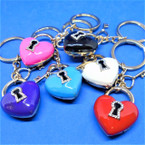 Colorful Metal Crystal Stone Heart & Key Keychains   .56 each