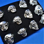 4 Style Cast Silver Skull Theme Rings 12 per bx .54 ea