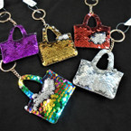 "3.5"" Change Color DBL Sided Sequin Handbag Look Keychains  .56 ea"
