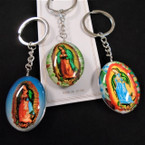 Dbl Sided Glass Guadalupe Theme Keychains Mixed Styles  .54 ea