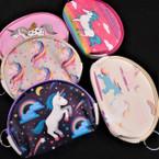 "4"" Cute Print Mixed Unicorn Zipper Coin Purses .54 ea"
