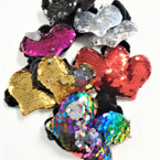 "2 Pk Blk Velvet Hair Twisters w/ 3"" Change Color Sequin Hearts .54 per set"
