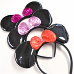 Big Shiney Black Mouse Ear Novelty Headbands w/ Metallic Bow    .56 each