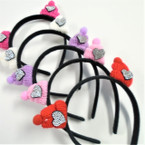 Black Novelty Headbands w/ Knit Pom Pom Caps w/ Crystal Stones .56 ea
