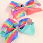 "NEW 5"" Two Tone Dye Tye & Solid Color Gator Clip Bows w/ Crystal Stones .54 ea"
