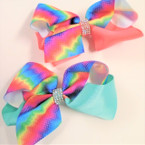 "NEW 5"" Two Tone Dye Tye & Solid Color Gator Clip Bows w/ Crystal Stones .54 ea"