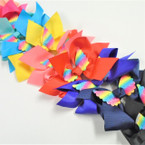 "6"" Mixed Color Gator Clip Bows w/ Rainbow Angel Wings  .54 ea"