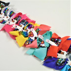 "6"" 2 Layer Solid/Sequin  Gator Clip Bows w/ LAMA   .54 ea"