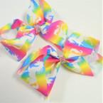 """5"""" Tye Dye Unicorn Theme Gator Clip Bows w/ Crystal Stones  .54 ea"""