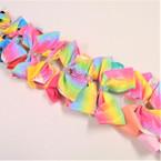 "NEW 5"" Tye Dye Glitter & Solid Color Gator Clip Bows  w/ Crystal Stones   .54 ea"