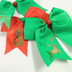 "6"" X 6"" Red & Green Tail Gator Clip Bows w/ Gold Christmas Print  .54 ea"