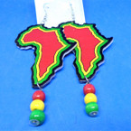 "3"" Rasta Color Wood Africa Map Earrings w/ Dangle Wood Beads .54 each"