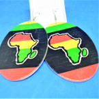 "3"" Oval Rasta Color Wood Africa Map Earrings .54 each"