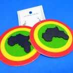 "3"" Round Rasta Color Wood Africa Map Earrings .54 each"