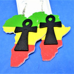 "3""  Rasta Color Wood Africa Map Earrings w/ Cross  .54 each"