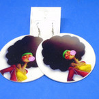 "3""  Cute Afro Girl Wood Earrings Blowing Bubble   .54 each"