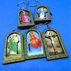 "2.5"" Wood Virgin Mary & Jesus Scene Keychains .54 ea"