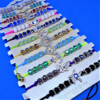 Cord  & Cry. Stone Bracelets w/ Mixed Style Stone Charms .54 ea