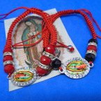 Handmade Red Macrame Guadalupe Picture Bracelets w/ Clear Crystals    .54 each