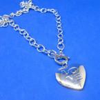 "18"" Silver Link Necklace w/ Love Locket Pendant .58 each"