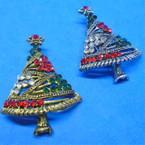 "1.5"" Cast Gold & Silver Christmas Tree  Broach w/ Crystal Stones  .58 each"