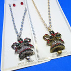 Gold & Silver Cast Christmas Bell Necklace w/ Crystal Stones  .58 each