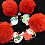 "3"" All Red Faux Fur Pom Pom Keychain w/ Christmas Ornament .56 ea"