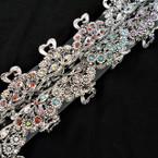 "2.5"" Cast Silver Fashion Jaw Clips w/ Crystal Stones 12 per pk .56 each"
