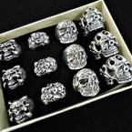 4 Style Cast Silver Skull Theme Rings 12 per bx .54 each