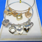 Gold & Silver Wire Bangle Bracelets w/ Heart Charms .54 ea