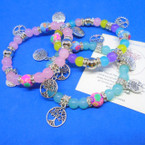 Light Color Glass/Fimo Bead Bracelet w/ Silver Tree of Life Charms  .54 ea