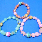 Light Color Glass/Fimo Bead Stretch Bracelet Multi Beads .56 ea