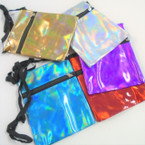 "5"" X 6.5"" Metallic Theme Zipper Side Bag w/ Lg. Strap .55 ea"