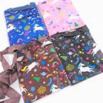 "4.5"" X 6"" Unicorn Christmas Theme Zipper Side Bag w/ Lg. Strap .55 ea"