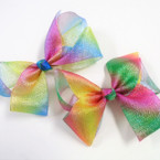 "6"" Metallic Rainbow Light Weight Lace Gator Clip Bows .54 ea"