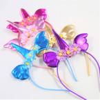Metallic Unicorn/Angel Wing Headbands w/ Flowers  .56 ea