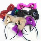 Faux Fur & Change Color Sequin Cats Ear Fashion Headbands Winter  Colors .60 ea