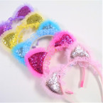Cute Kid's Sparkle Cat Ear Headbands w/ Lace .56 each