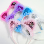 Cute Kid's Change Color Sequin  Cat Ear Headbands w/ Lace .56 each