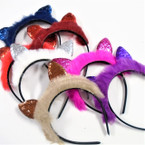 Faux Fur & Sparkle Cats Ear Fashion Headbands Winter Colors .60 ea