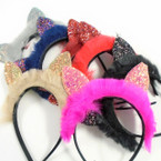 Faux Fur & Multi Sparkle Cats Ear Fashion Headbands Winter Colors .60 ea