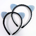 All Black Braid Hair & Crystal Stone Cat Ear Headbands .54 ea