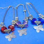 Silver  Pandora Style Bracelets w/ Colored Stone & Butterfly Charm .54 ea