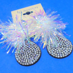"3"" Crystal Stone Earring w/ Bunch of Festive Tinsel .54 ea"