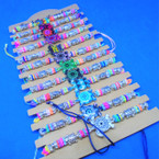 Colorful Bead Cord Bracelets w/ Turtle Charm 12 per card .54 ea