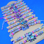 Colorful Bead Cord Bracelets w/ Elephant Charm 12 per card .54 ea