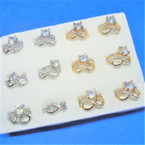 Wedding Band Ring Set Gold/Silver w/ Crystal Stone Ring & Infinity Ring .54 per set